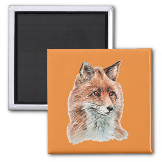 Red Fox Watercolor Painting Art Magnet