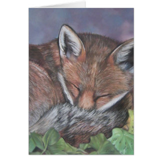 red fox wildlife sleeping in leaves blank art card