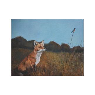 Red Fox with Bluebird Animal Wildlife Canvas Print