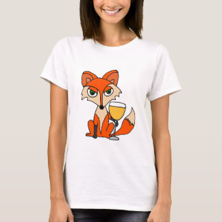 Red Fox with White Wine Glass T-Shirt