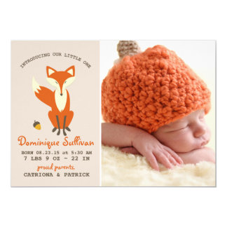 Red Fox | Woodland Photo Birth Announcement
