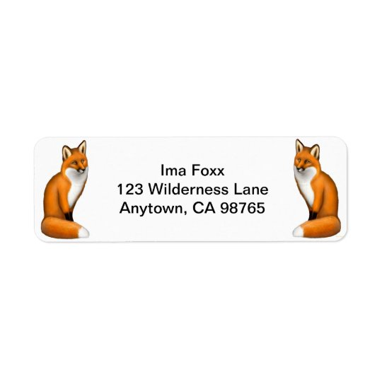 Red Foxes Customizable Return Address Label
