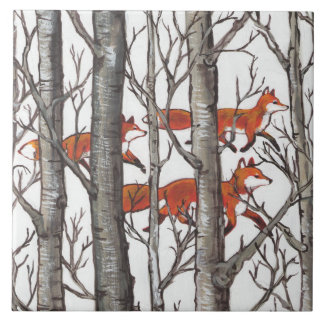 Red Foxes in Woods Art Rustic Look LG Ceramic Tile