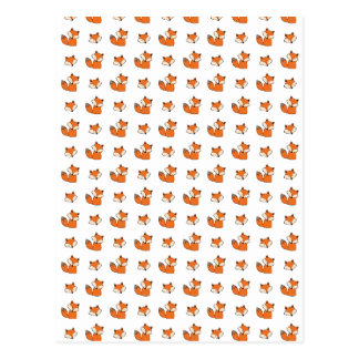 red foxes pattern postcard