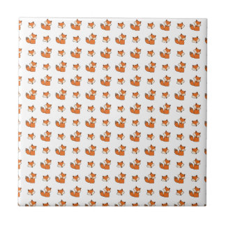 red foxes pattern tile