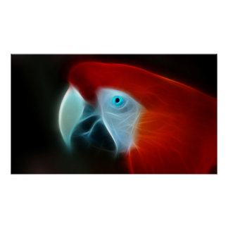 Red Fractal Parrot blue eyes Posters