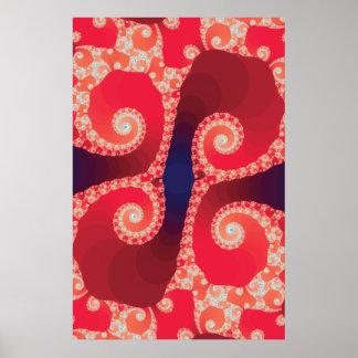 Red Fractal Print