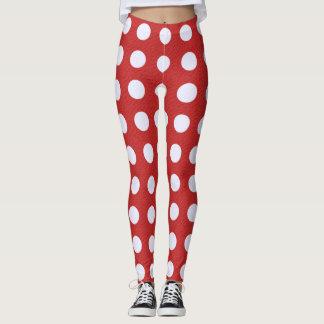 Red Fractal-style - White Fractal-style Polka Dots Leggings