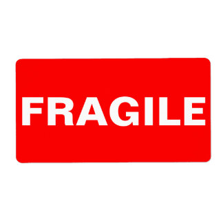 Red Fragile Shipping Label