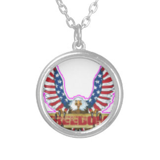 Red Freedom Eagle Banner Silver Plated Necklace