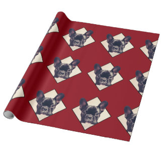 Red French Bulldog wrapping paper