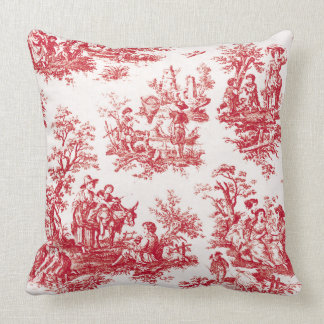 Red French Country Toile Throw Pillow