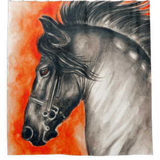 Red Friesian Beautiful Black Horse Watercolor Art