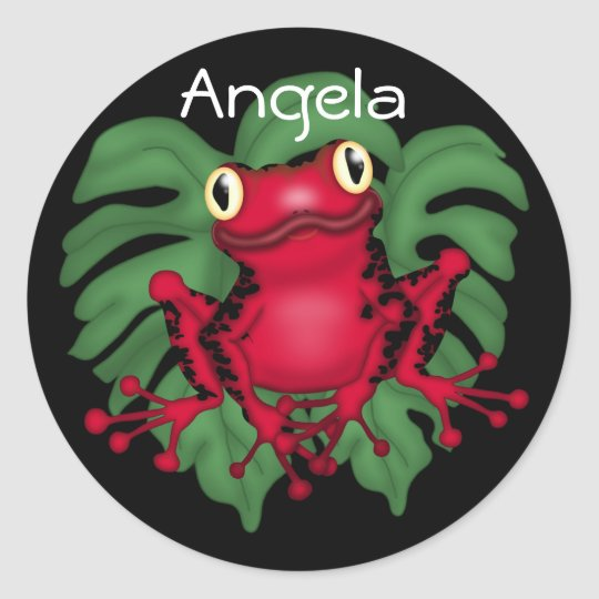 Red Frog On Green Leaves Round Sticker