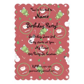 Red frogs santa claus snowmen 5x7 paper invitation card
