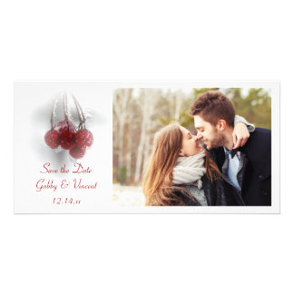 Red Frosty Berries Winter Wedding Save the Date Customized Photo Card