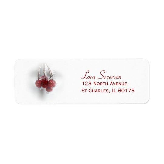 Red Frosty Winter Berries Return Address Return Address Label