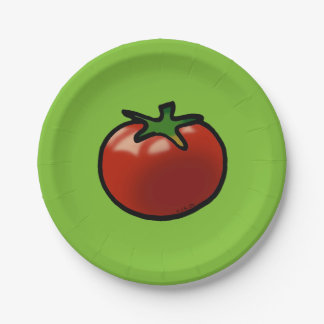 red fruit tomato paper plate
