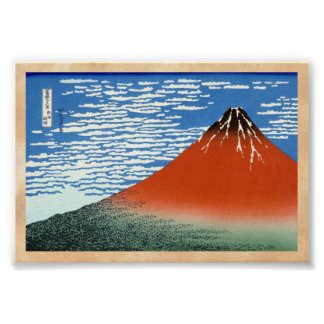 Red Fuji southern wind clear morning Poster