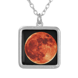 Red Full Moon Silver Plated Necklace