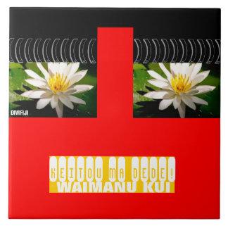 Red Fun Trivet-Waterlily Tile