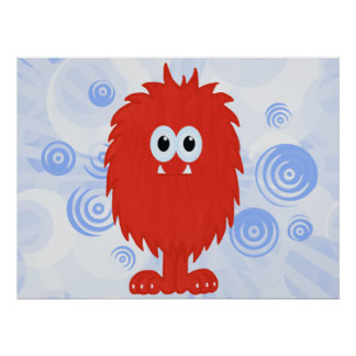 Red Furry Monster & Blue Swirls Print