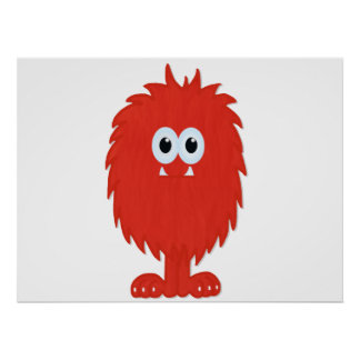 Red Furry Monster Print