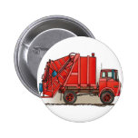 Red Garbage Truck 2 Inch Round Button