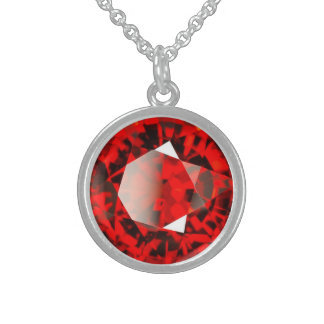Red Garnet Gemstone January Birthstone Sterling Silver Necklace
