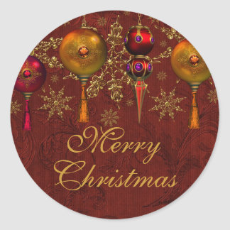 Red Gem Bauble Festive Merry Christmas Sticker