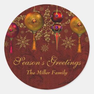 Red Gem Bauble Festive Season's Greetings Sticker