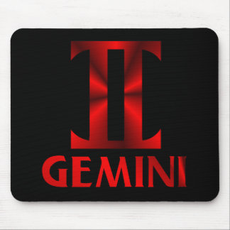 Red Gemini Horoscope Symbol Mouse Pad
