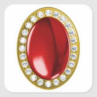 Red gemstone with diamonds square sticker