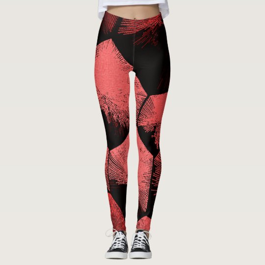 Red geometric figures pattern, black fabric canvas leggings