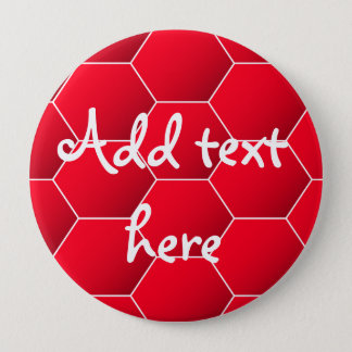 Red geometric hexagon 4 inch round button