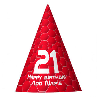Red geometric hexagon party hat