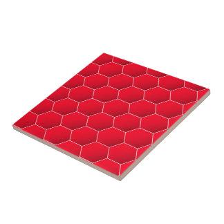 Red geometric hexagon tile