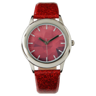 Red Geometric Pattern with Hours Watch