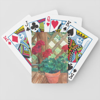 Red Geranium Bicycle Playing Cards