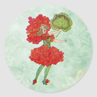 red geranium flower fairy classic round sticker