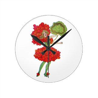 red geranium flower fairy clock