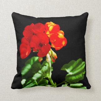 Red geranium flower throw pillow
