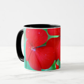 Red Geranium Flowers Mug