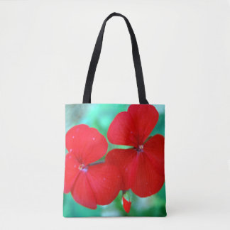Red Geranium Flowers Tote Bag