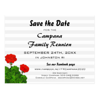 Red Geranium Reunion, Party, Event Save the Date Postcard
