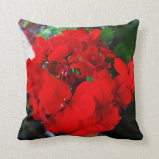 Red Geraniums Floral Pillow by Sharles
