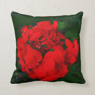 Red Geraniums Green Pillow by Sharles