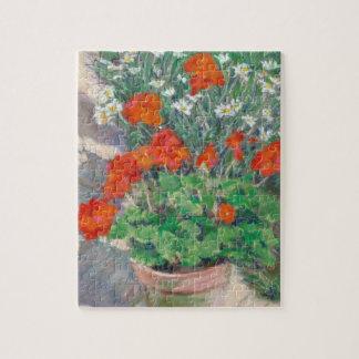Red Geraniums in Summer Garden Jigsaw Puzzle