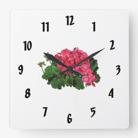 Red Geraniums with Buds Wallclock