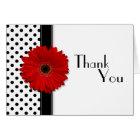 Red Gerber Black White Polka Dot Wedding Thank You Card